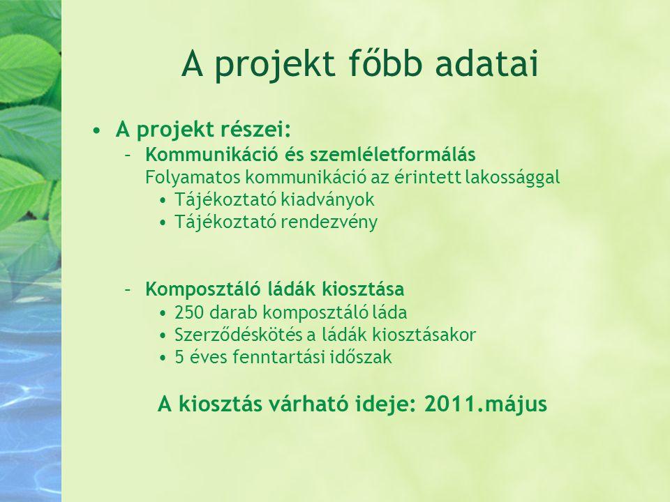 A projekt főbb adatai •A projekt részei: –Kommunikáció és szemléletformálás Folyamatos kommunikáció az érintett lakossággal •Tájékoztató kiadványok •T