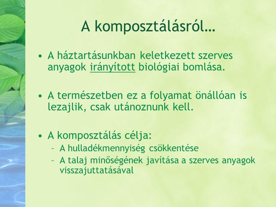 A komposztálásról… •A háztartásunkban keletkezett szerves anyagok irányított biológiai bomlása. •A természetben ez a folyamat önállóan is lezajlik, cs