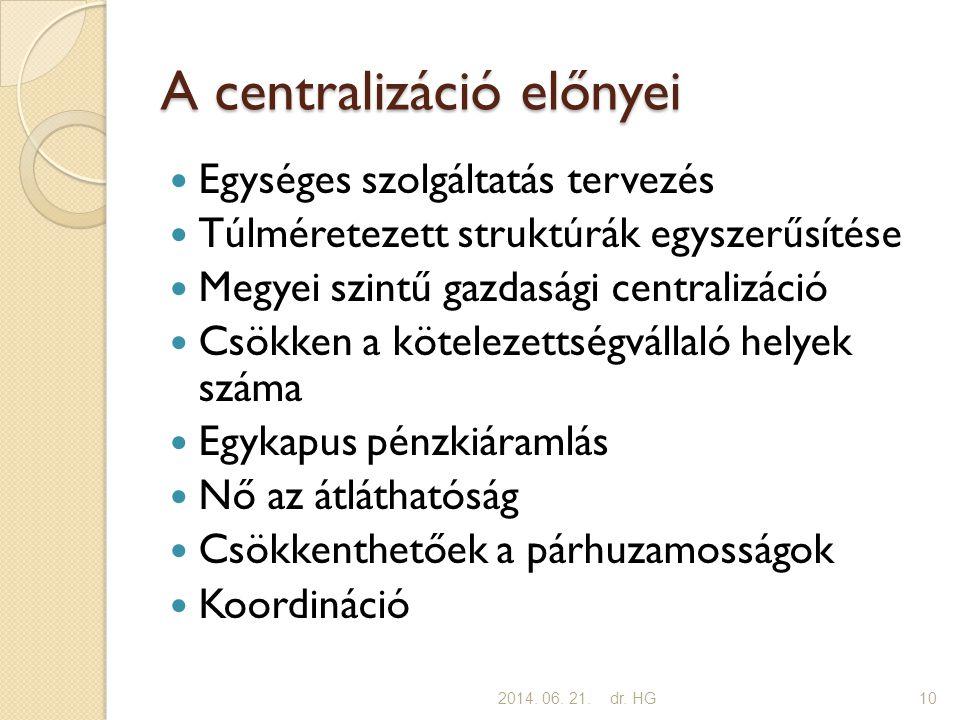 A centralizáció előnyei  Egységes szolgáltatás tervezés  Túlméretezett struktúrák egyszerűsítése  Megyei szintű gazdasági centralizáció  Csökken a kötelezettségvállaló helyek száma  Egykapus pénzkiáramlás  Nő az átláthatóság  Csökkenthetőek a párhuzamosságok  Koordináció 2014.