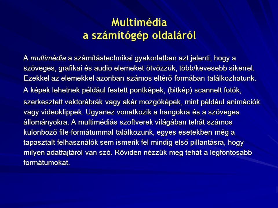 Multimédia a számítógép oldaláról A multimédia a számítástechnikai gyakorlatban azt jelenti, hogy a szöveges, grafikai és audio elemeket ötvözzük, több/kevesebb sikerrel.