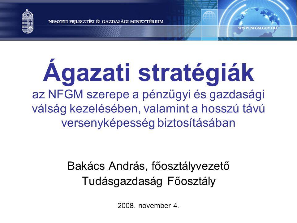 Ágazati stratégiák az NFGM szerepe a pénzügyi és gazdasági válság kezelésében, valamint a hosszú távú versenyképesség biztosításában Bakács András, fő