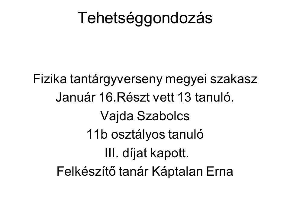 Tehetséggondozás Fizika tantárgyverseny megyei szakasz Január 16.Részt vett 13 tanuló.