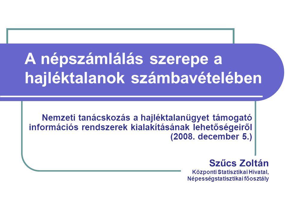 A népszámlálás szerepe a hajléktalanok számbavételében Nemzeti tanácskozás a hajléktalanügyet támogató információs rendszerek kialakításának lehetőségeiről (2008.
