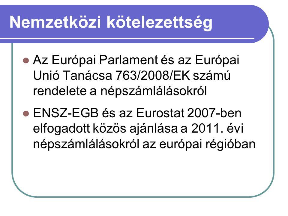 Nemzetközi kötelezettség  Az Európai Parlament és az Európai Unió Tanácsa 763/2008/EK számú rendelete a népszámlálásokról  ENSZ-EGB és az Eurostat 2007-ben elfogadott közös ajánlása a 2011.