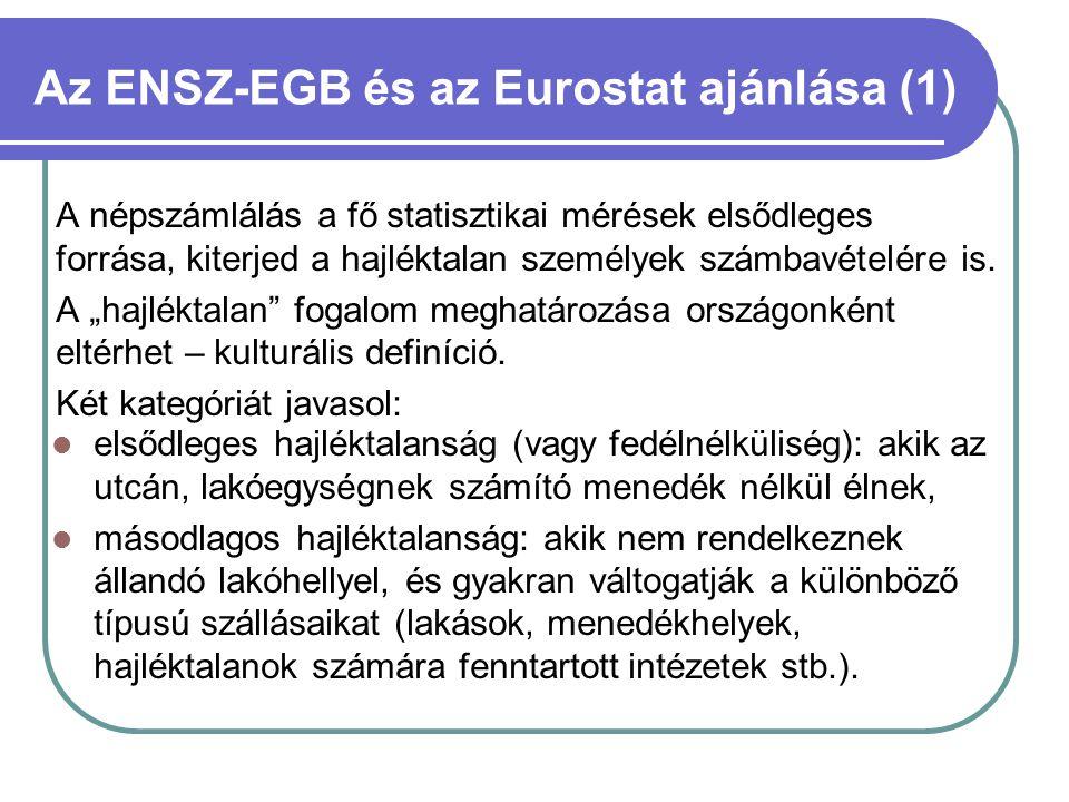 Az ENSZ-EGB és az Eurostat ajánlása (1) A népszámlálás a fő statisztikai mérések elsődleges forrása, kiterjed a hajléktalan személyek számbavételére i