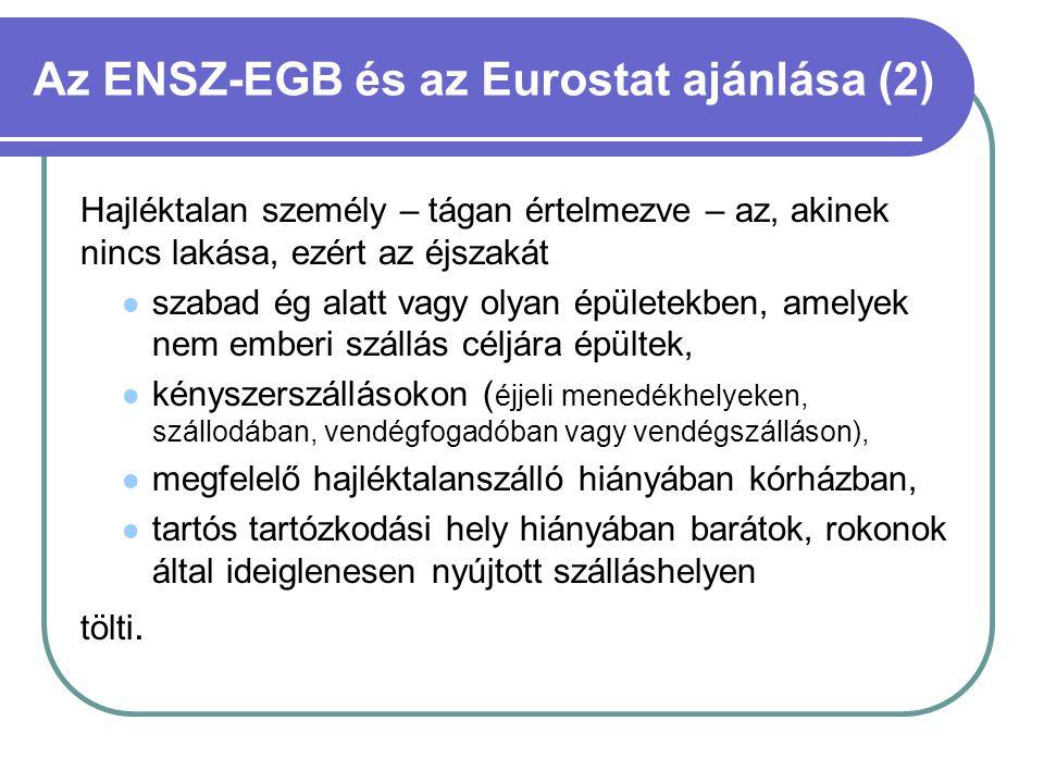 Az ENSZ-EGB és az Eurostat ajánlása (2) Hajléktalan személy – tágan értelmezve – az, akinek nincs lakása, ezért az éjszakát  szabad ég alatt vagy oly