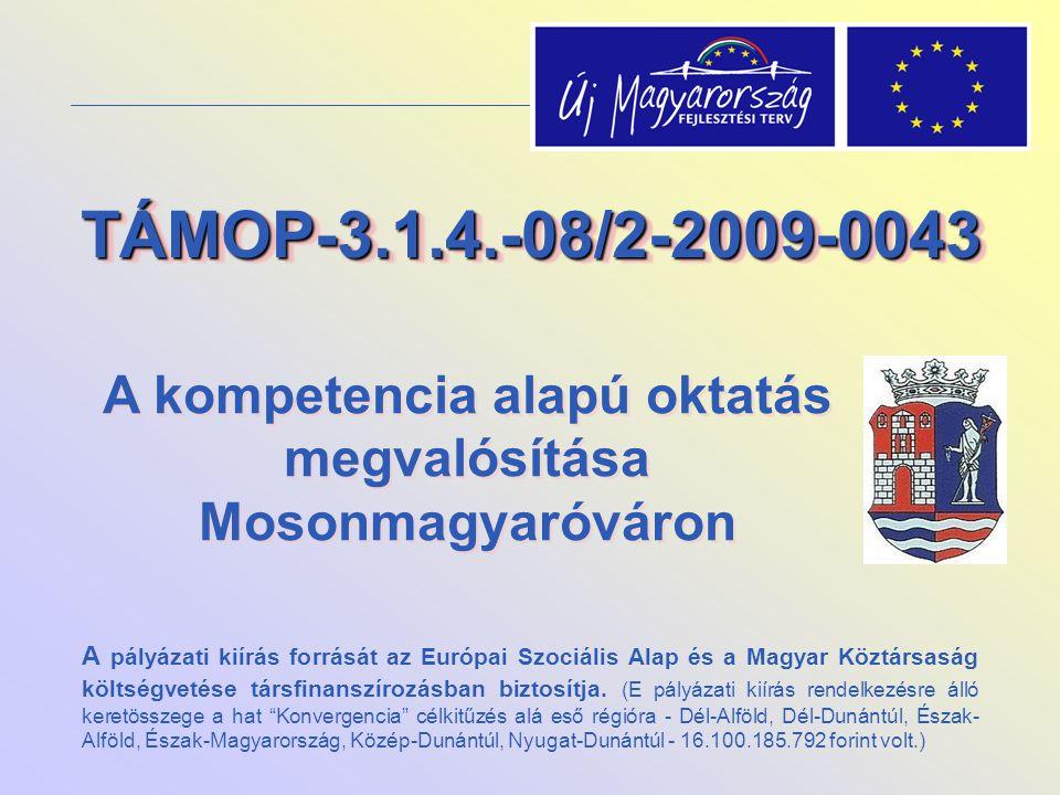 TÁMOP-3.1.4.-08/2-2009-0043TÁMOP-3.1.4.-08/2-2009-0043 A kompetencia alapú oktatás megvalósítása Mosonmagyaróváron A pályázati kiírás forrását az Euró