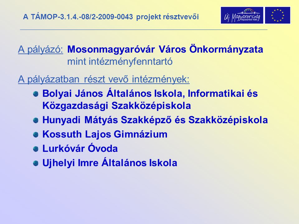 A TÁMOP-3.1.4.-08/2-2009-0043 projekt résztvevői A pályázó: Mosonmagyaróvár Város Önkormányzata mint intézményfenntartó A pályázatban részt vevő intéz