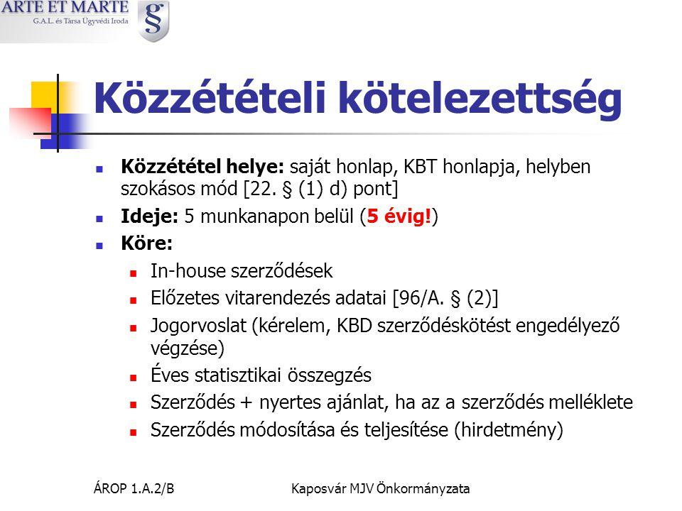 ÁROP 1.A.2/BKaposvár MJV Önkormányzata Közzétételi kötelezettség  Közzététel helye: saját honlap, KBT honlapja, helyben szokásos mód [22.