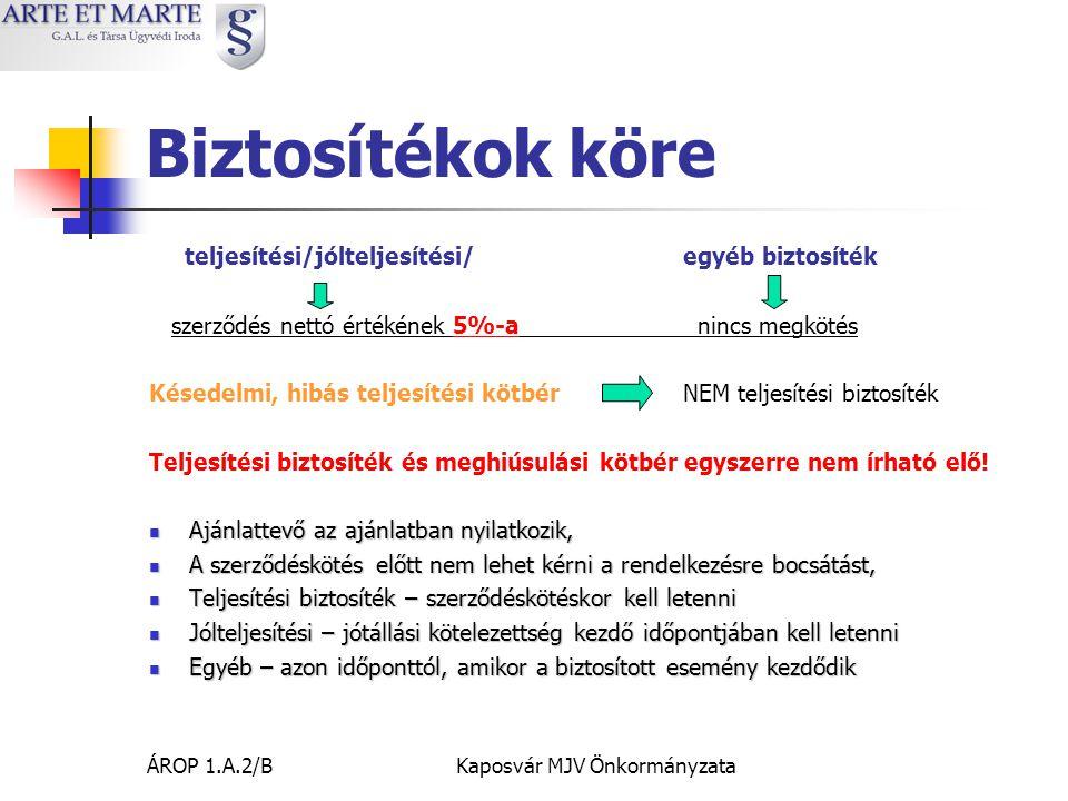 ÁROP 1.A.2/BKaposvár MJV Önkormányzata Biztosítékok köre teljesítési/jólteljesítési/egyéb biztosíték szerződés nettó értékének 5%-a nincs megkötés Késedelmi, hibás teljesítési kötbérNEM teljesítési biztosíték Teljesítési biztosíték és meghiúsulási kötbér egyszerre nem írható elő.