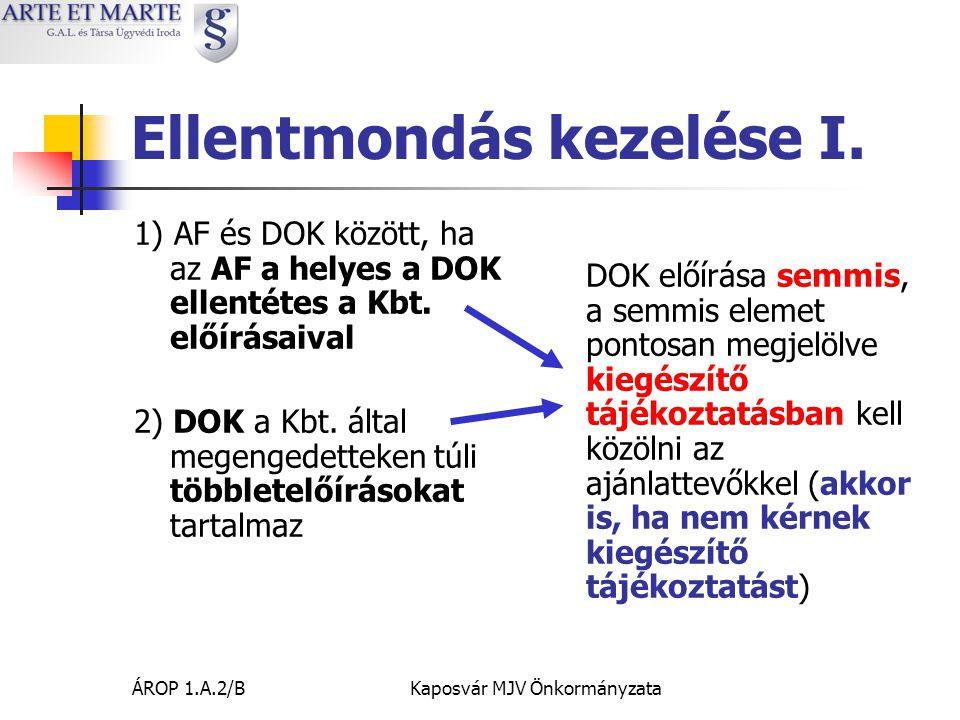 ÁROP 1.A.2/BKaposvár MJV Önkormányzata Ellentmondás kezelése I.