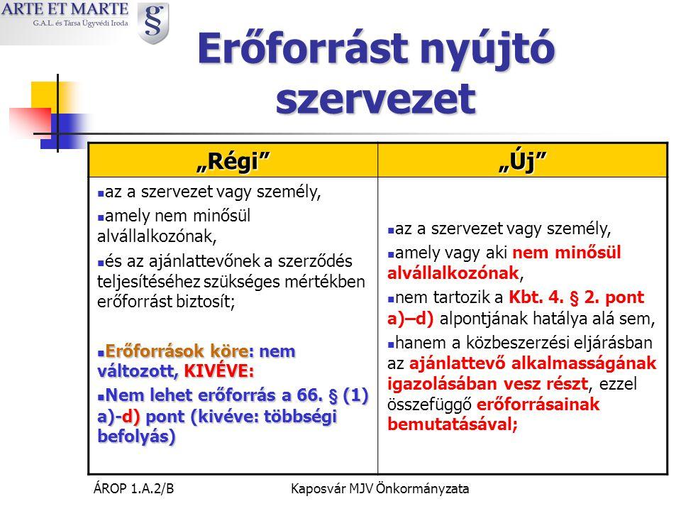 ÁROP 1.A.2/BKaposvár MJV Önkormányzata Alvállalkozóvá minősítés Az ajánlattevő jogosult arra, hogy a közbeszerzési szerződés teljesítésébe általa bevonni kívánt - a 4.
