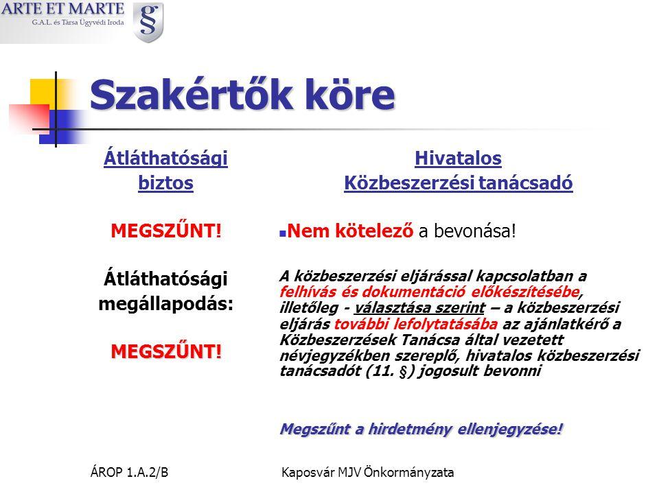 ÁROP 1.A.2/BKaposvár MJV Önkormányzata Ellenszolgáltatás teljesítése 15 nap 45 nap  Ajánlattevői nyilatkozat a teljesítés igazolásáig – ki, mekkora összegre jogosult (alvállalkozó, szakemberek) – először ezt az összeget számlázzák.