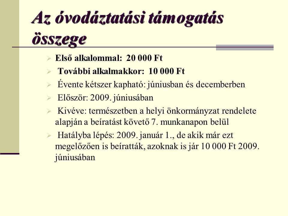 Az óvodáztatási támogatás összege  Első alkalommal: 20 000 Ft  További alkalmakkor: 10 000 Ft  Évente kétszer kapható: júniusban és decemberben  Először: 2009.