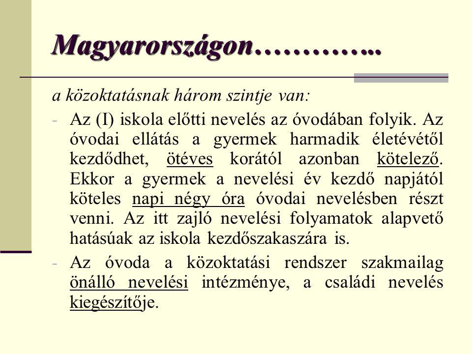 Magyarországon………….. a közoktatásnak három szintje van: - Az (I) iskola előtti nevelés az óvodában folyik. Az óvodai ellátás a gyermek harmadik életév