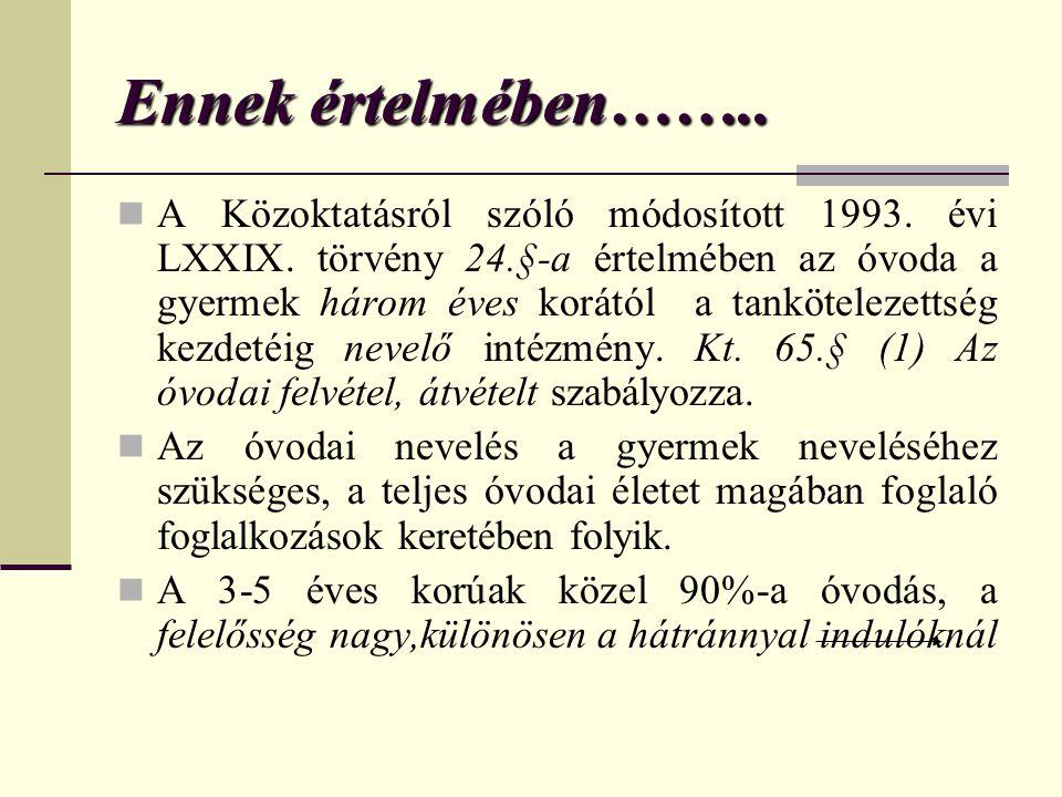 Ennek értelmében……..  A Közoktatásról szóló módosított 1993. évi LXXIX. törvény 24.§-a értelmében az óvoda a gyermek három éves korától a tanköteleze
