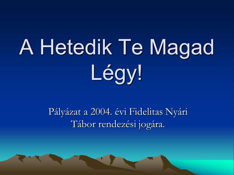 A Hetedik Te Magad Légy! Pályázat a 2004. évi Fidelitas Nyári Tábor rendezési jogára.