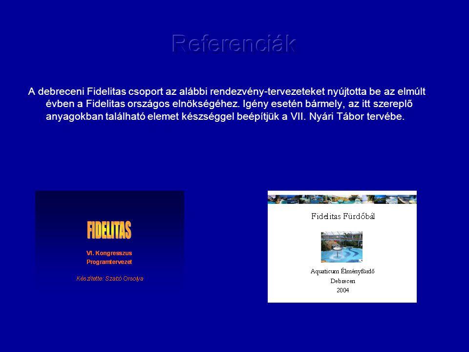 A debreceni Fidelitas csoport az alábbi rendezvény-tervezeteket nyújtotta be az elmúlt évben a Fidelitas országos elnökségéhez.