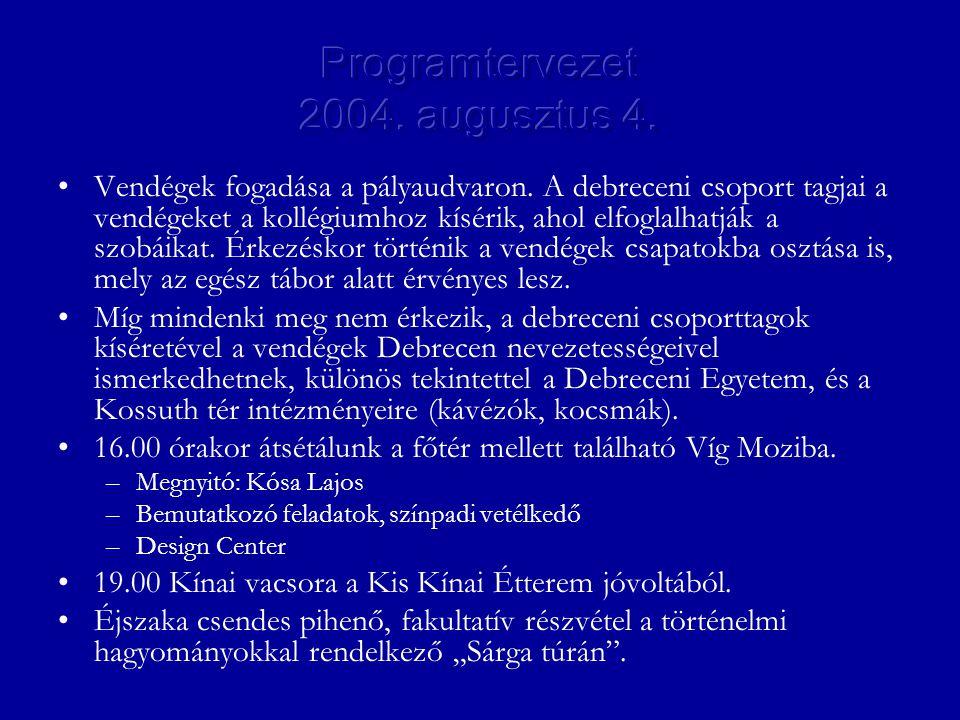 •Vendégek fogadása a pályaudvaron. A debreceni csoport tagjai a vendégeket a kollégiumhoz kísérik, ahol elfoglalhatják a szobáikat. Érkezéskor történi