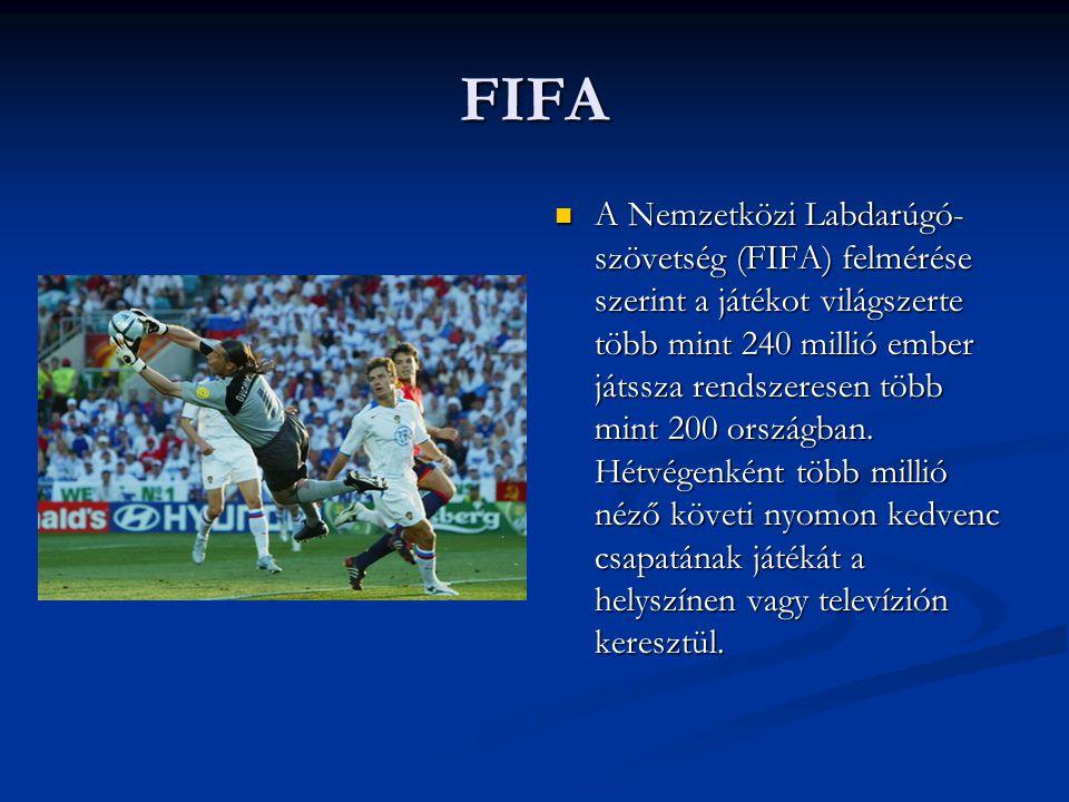 FIFA  A Nemzetközi Labdarúgó- szövetség (FIFA) felmérése szerint a játékot világszerte több mint 240 millió ember játssza rendszeresen több mint 200