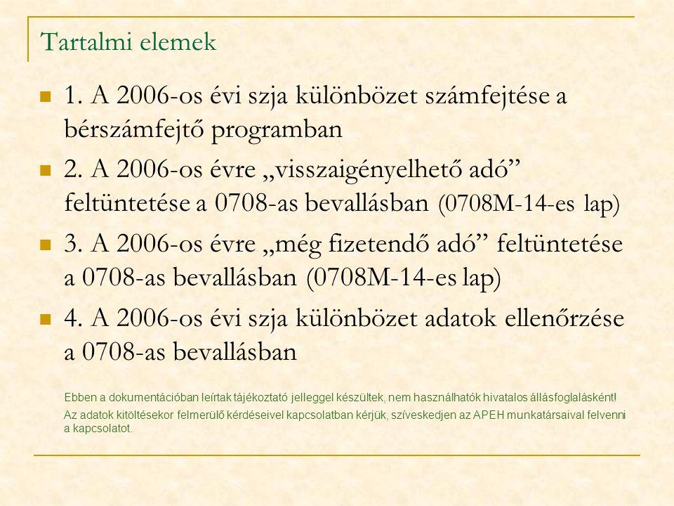 Tartalmi elemek  1. A 2006-os évi szja különbözet számfejtése a bérszámfejtő programban  2.