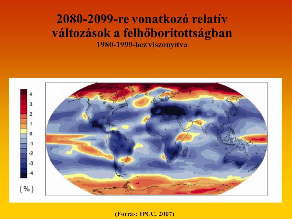 (Forrás: IPCC, 2007) 2080-2099-re vonatkozó relatív változások a felhőborítottságban 1980-1999-hez viszonyítva