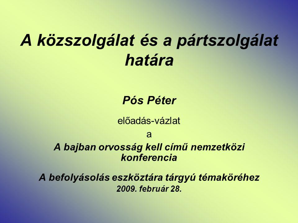 A közszolgálat és a pártszolgálat határa Pós Péter előadás-vázlat a A bajban orvosság kell című nemzetközi konferencia A befolyásolás eszköztára tárgyú témaköréhez 2009.