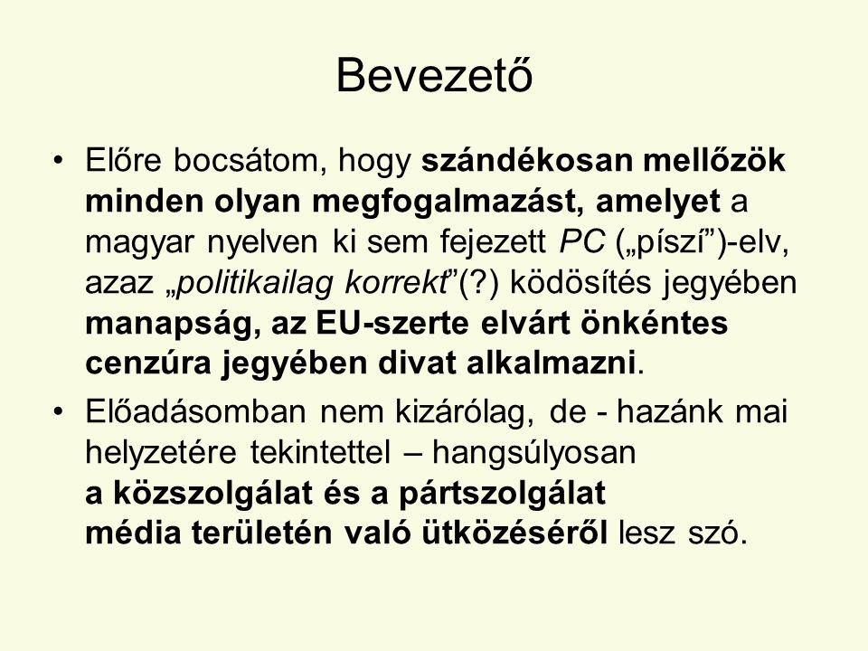 """Bevezető •Előre bocsátom, hogy szándékosan mellőzök minden olyan megfogalmazást, amelyet a magyar nyelven ki sem fejezett PC (""""píszí )-elv, azaz """"politikailag korrekt (?) ködösítés jegyében manapság, az EU-szerte elvárt önkéntes cenzúra jegyében divat alkalmazni."""