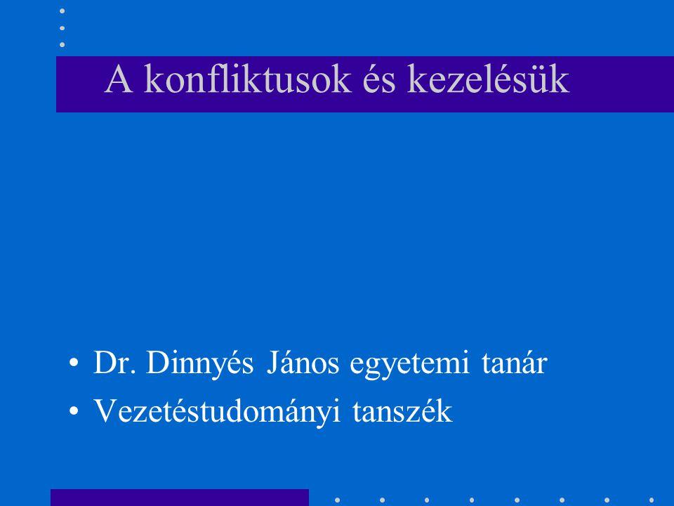•Dr. Dinnyés János egyetemi tanár •Vezetéstudományi tanszék A konfliktusok és kezelésük