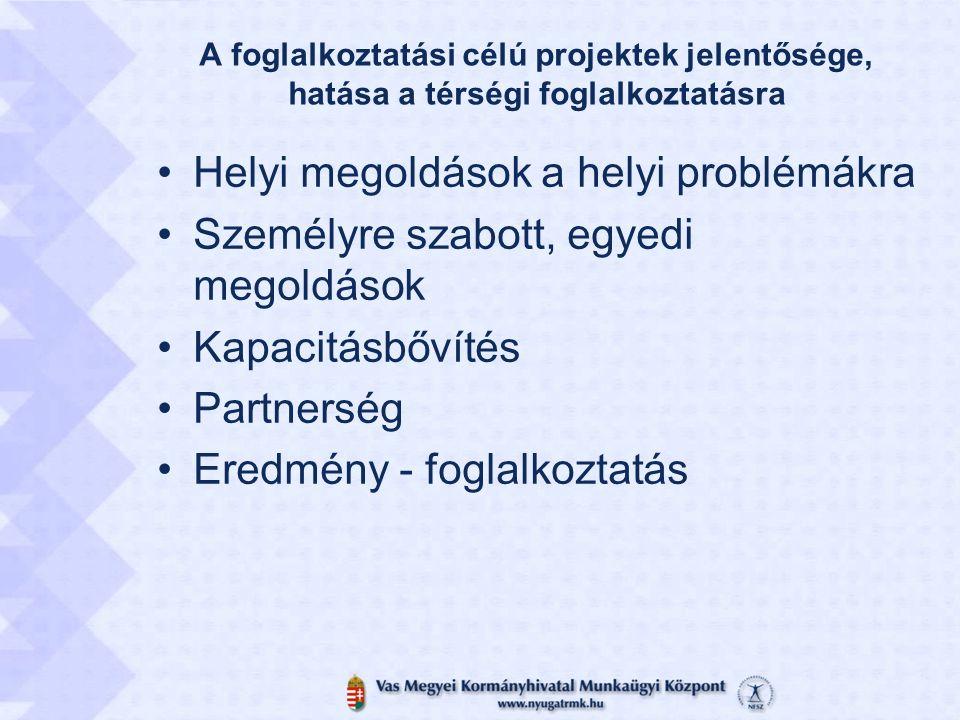 A foglalkoztatási célú projektek jelentősége, hatása a térségi foglalkoztatásra •Helyi megoldások a helyi problémákra •Személyre szabott, egyedi megoldások •Kapacitásbővítés •Partnerség •Eredmény - foglalkoztatás