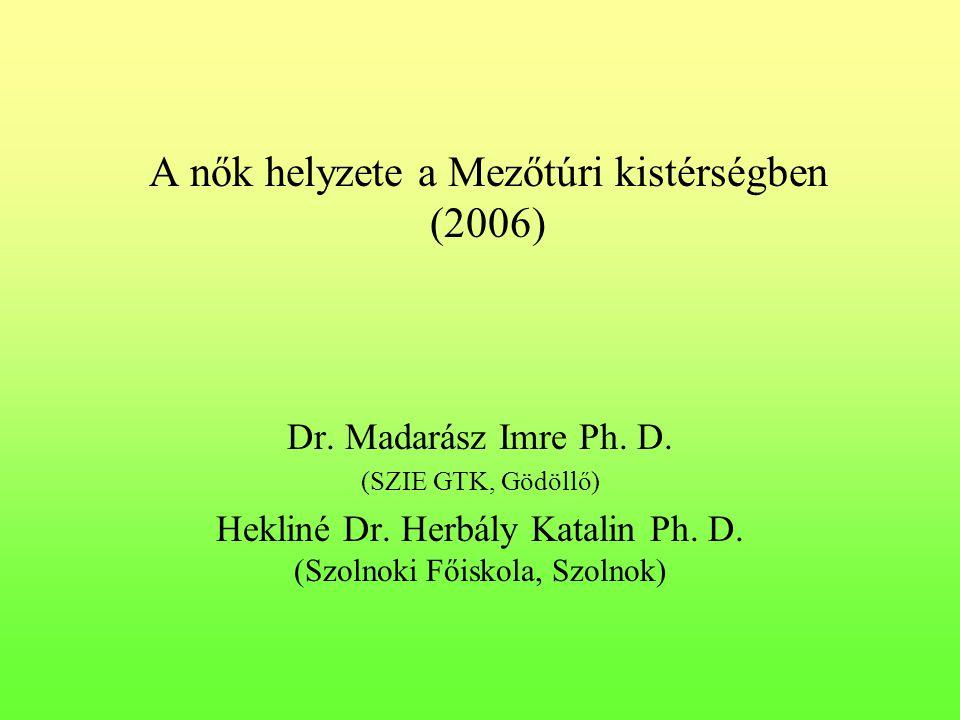 A nők helyzete a Mezőtúri kistérségben (2006) Dr. Madarász Imre Ph. D. (SZIE GTK, Gödöllő) Hekliné Dr. Herbály Katalin Ph. D. (Szolnoki Főiskola, Szol