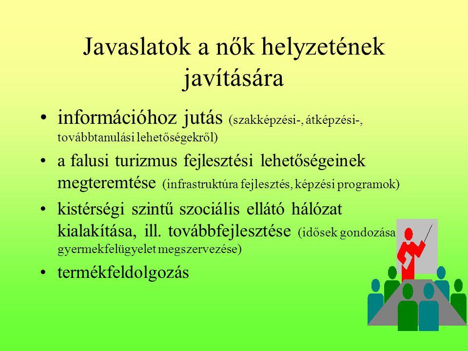Javaslatok a nők helyzetének javítására •információhoz jutás (szakképzési-, átképzési-, továbbtanulási lehetőségekről) •a falusi turizmus fejlesztési lehetőségeinek megteremtése (infrastruktúra fejlesztés, képzési programok) •kistérségi szintű szociális ellátó hálózat kialakítása, ill.