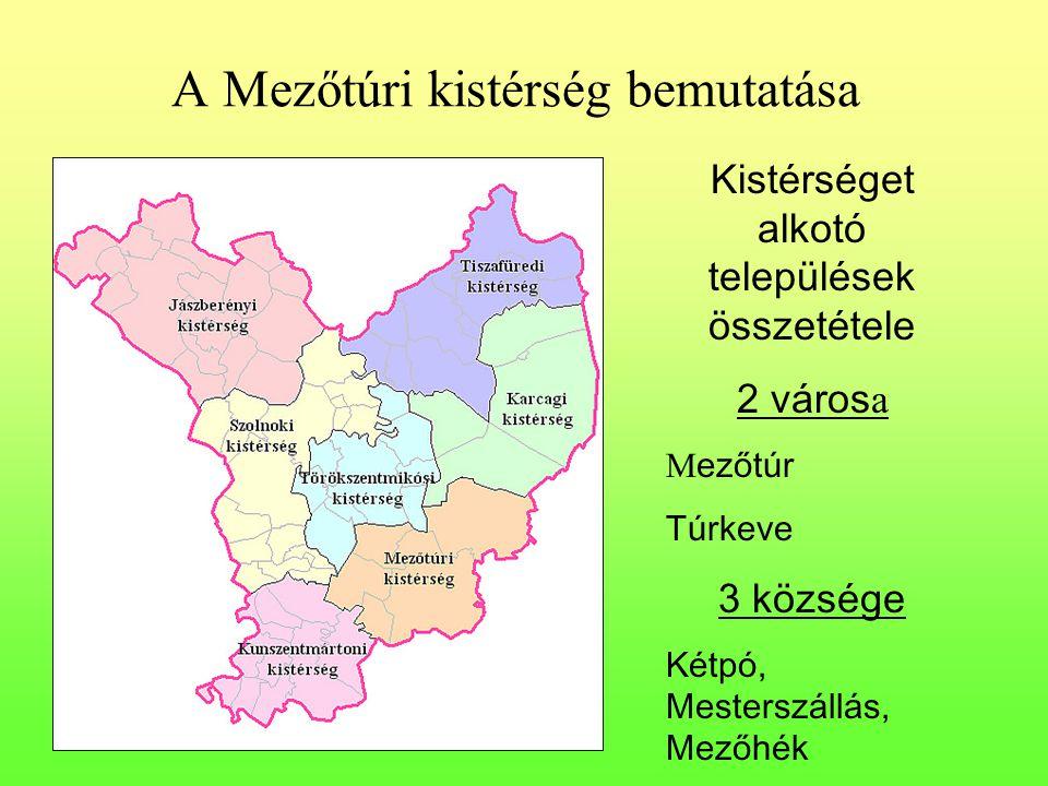 A Mezőtúri kistérség bemutatása Kistérséget alkotó települések összetétele 2 város a M ezőtúr Túrkeve 3 községe Kétpó, Mesterszállás, Mezőhék