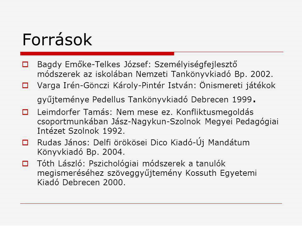 Források  Bagdy Emőke-Telkes József: Személyiségfejlesztő módszerek az iskolában Nemzeti Tankönyvkiadó Bp. 2002.  Varga Irén-Gönczi Károly-Pintér Is