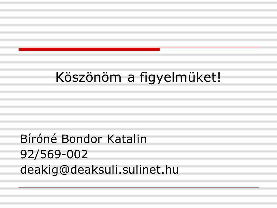 Köszönöm a figyelmüket! Bíróné Bondor Katalin 92/569-002 deakig@deaksuli.sulinet.hu