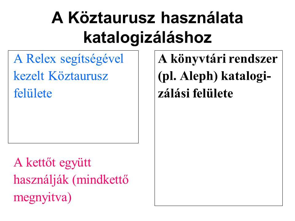 A Köztaurusz használata katalogizáláshoz A Relex segítségévelA könyvtári rendszer kezelt Köztaurusz(pl. Aleph) katalogi- felületezálási felülete A ket