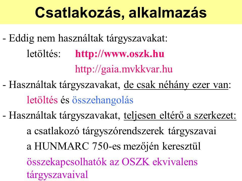 Csatlakozás, alkalmazás - Eddig nem használtak tárgyszavakat: letöltés:http://www.oszk.hu http://gaia.mvkkvar.hu - Használtak tárgyszavakat, de csak néhány ezer van: letöltés és összehangolás - Használtak tárgyszavakat, teljesen eltérő a szerkezet: a csatlakozó tárgyszórendszerek tárgyszavai a HUNMARC 750-es mezőjén keresztül összekapcsolhatók az OSZK ekvivalens tárgyszavaival