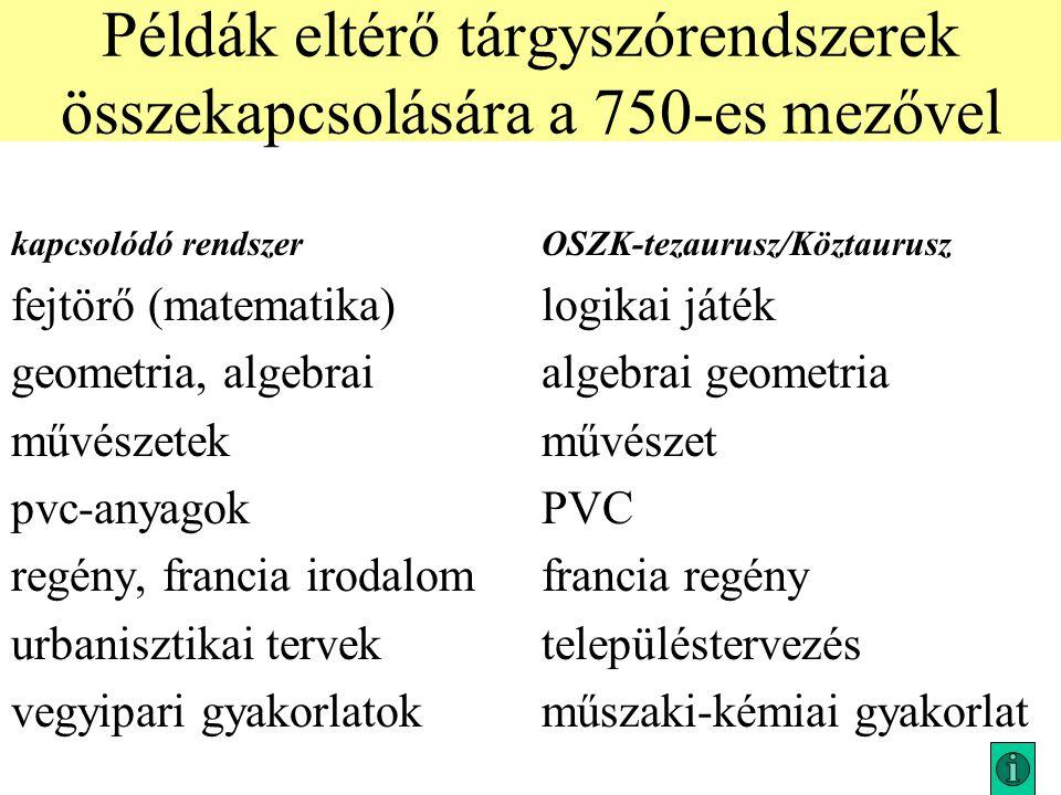 Példák eltérő tárgyszórendszerek összekapcsolására a 750-es mezővel kapcsolódó rendszerOSZK-tezaurusz/Köztaurusz fejtörő (matematika)logikai játék geo