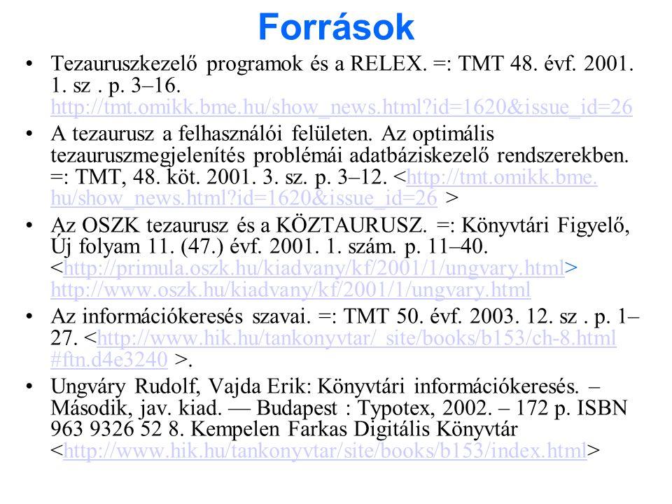 Források •Tezauruszkezelő programok és a RELEX. =: TMT 48. évf. 2001. 1. sz. p. 3–16. http://tmt.omikk.bme.hu/show_news.html?id=1620&issue_id=26 http:
