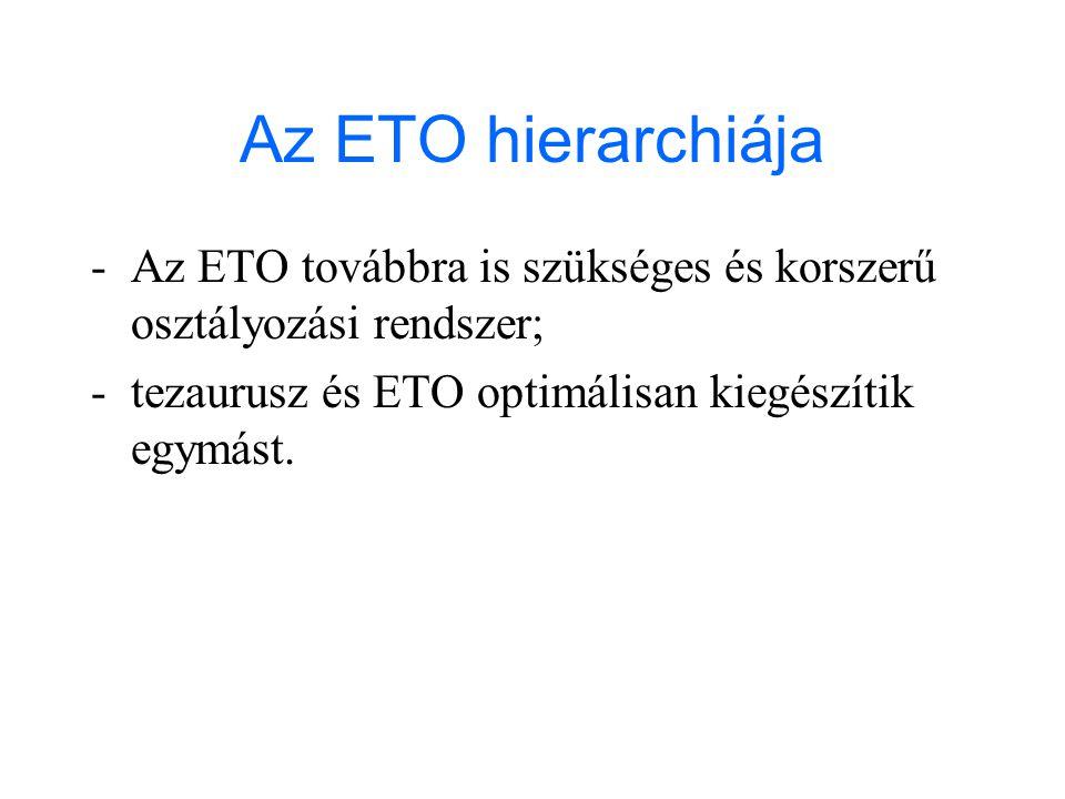 Az ETO hierarchiája -Az ETO továbbra is szükséges és korszerű osztályozási rendszer; -tezaurusz és ETO optimálisan kiegészítik egymást.