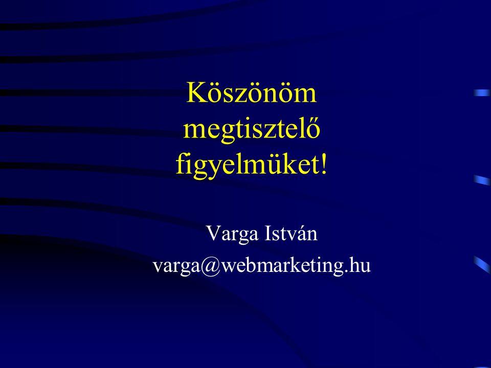 Köszönöm megtisztelő figyelmüket! Varga István varga@webmarketing.hu