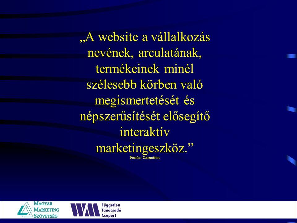 """""""A website a vállalkozás nevének, arculatának, termékeinek minél szélesebb körben való megismertetését és népszerűsítését elősegítő interaktív marketingeszköz. Forrás: Carnation"""