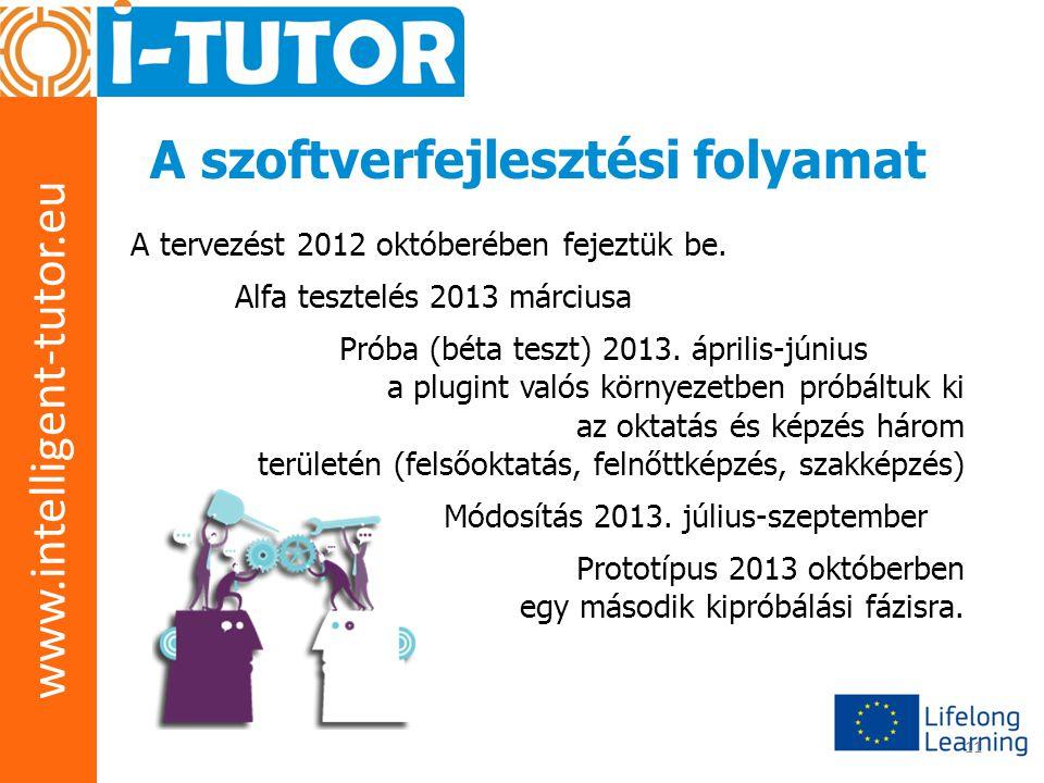 www.intelligent-tutor.eu 11 A szoftverfejlesztési folyamat A tervezést 2012 októberében fejeztük be. Alfa tesztelés 2013 márciusa Próba (béta teszt) 2