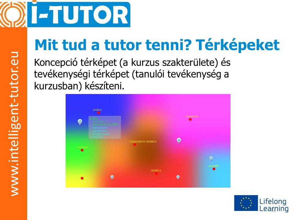 www.intelligent-tutor.eu 12 Mit tud a tutor tenni? Térképeket Koncepció térképet (a kurzus szakterülete) és tevékenységi térképet (tanulói tevékenység