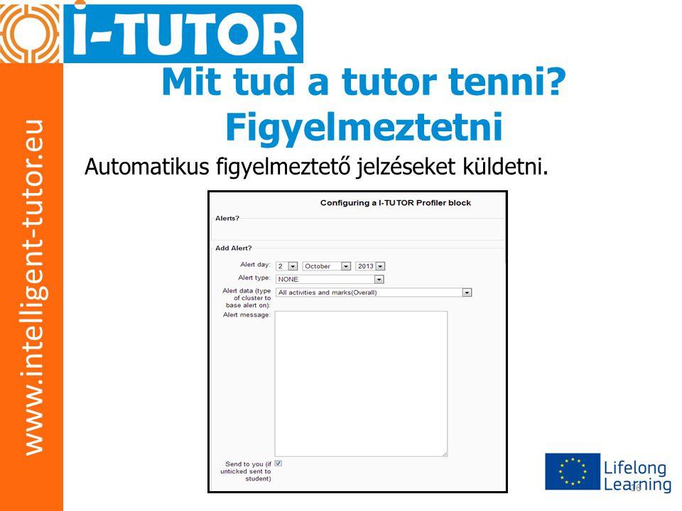 www.intelligent-tutor.eu 16 Mit tud a tutor tenni? Figyelmeztetni Automatikus figyelmeztető jelzéseket küldetni.