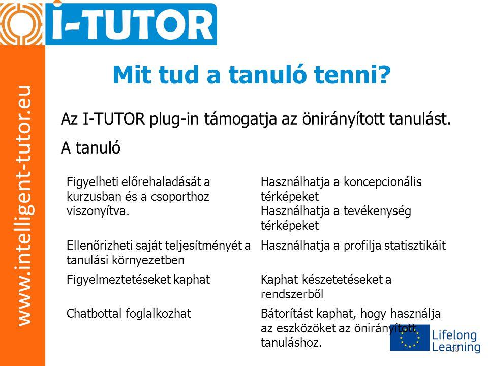 www.intelligent-tutor.eu 18 Mit tud a tanuló tenni? Az I-TUTOR plug-in támogatja az önirányított tanulást. A tanuló Figyelheti előrehaladását a kurzus