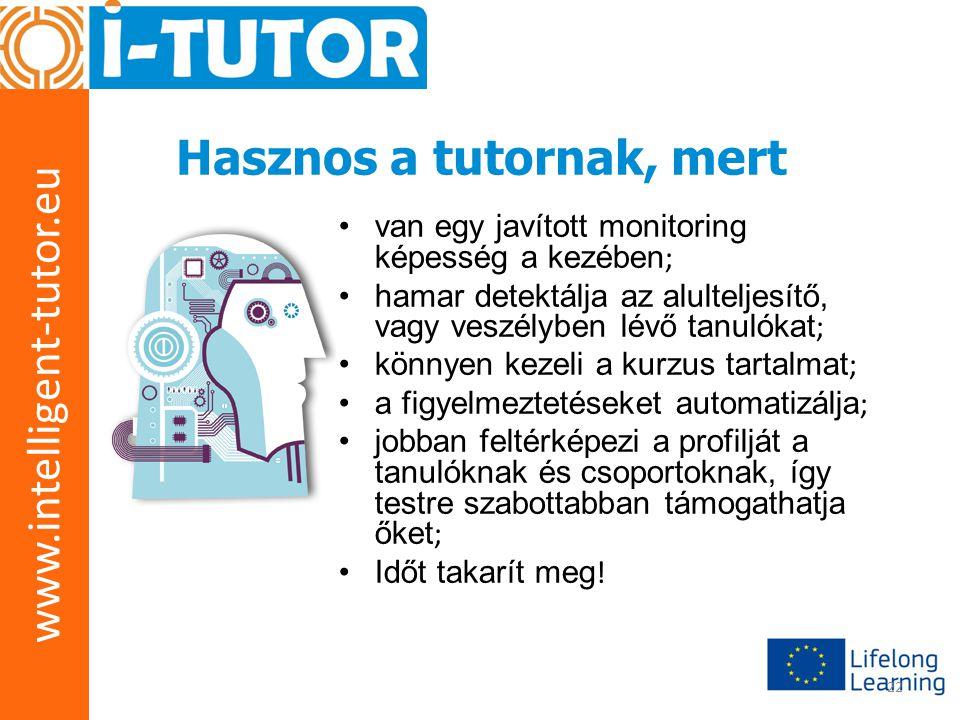 www.intelligent-tutor.eu 22 Hasznos a tutornak, mert •van egy javított monitoring képesség a kezében ; •hamar detektálja az alulteljesítő, vagy veszélyben lévő tanulókat ; •könnyen kezeli a kurzus tartalmat ; •a figyelmeztetéseket automatizálja ; •jobban feltérképezi a profilját a tanulóknak és csoportoknak, így testre szabottabban támogathatja őket ; •Időt takarít meg !