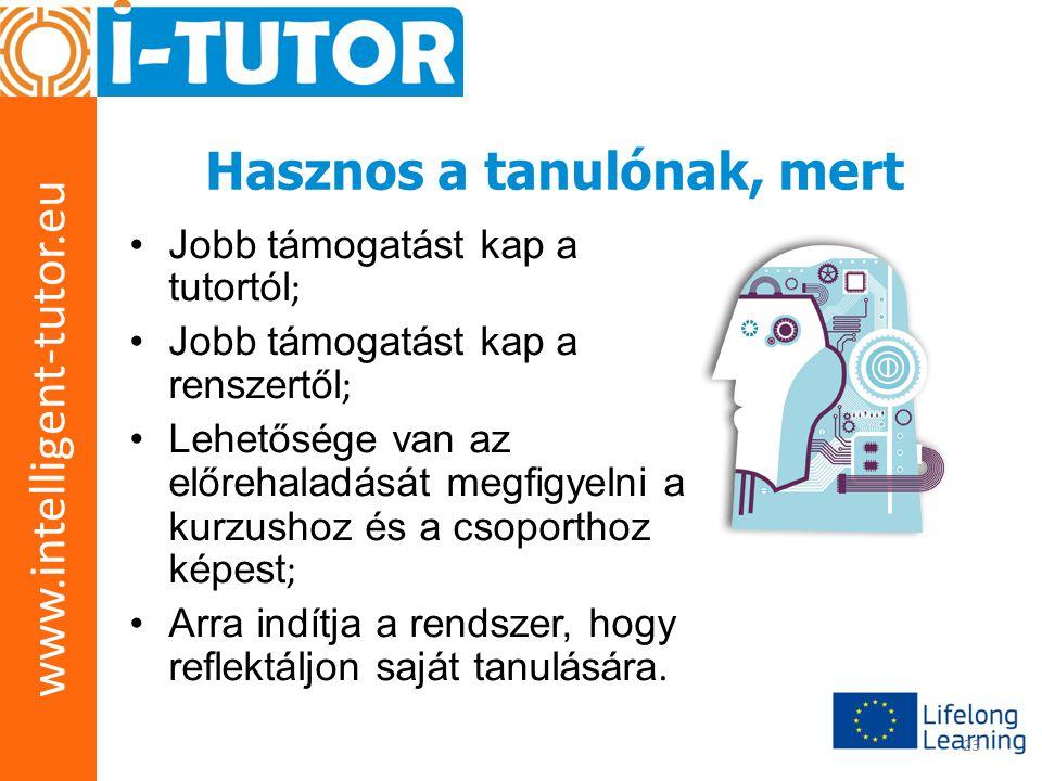 www.intelligent-tutor.eu 23 Hasznos a tanulónak, mert •Jobb támogatást kap a tutortól ; •Jobb támogatást kap a renszertől ; •Lehetősége van az előreha