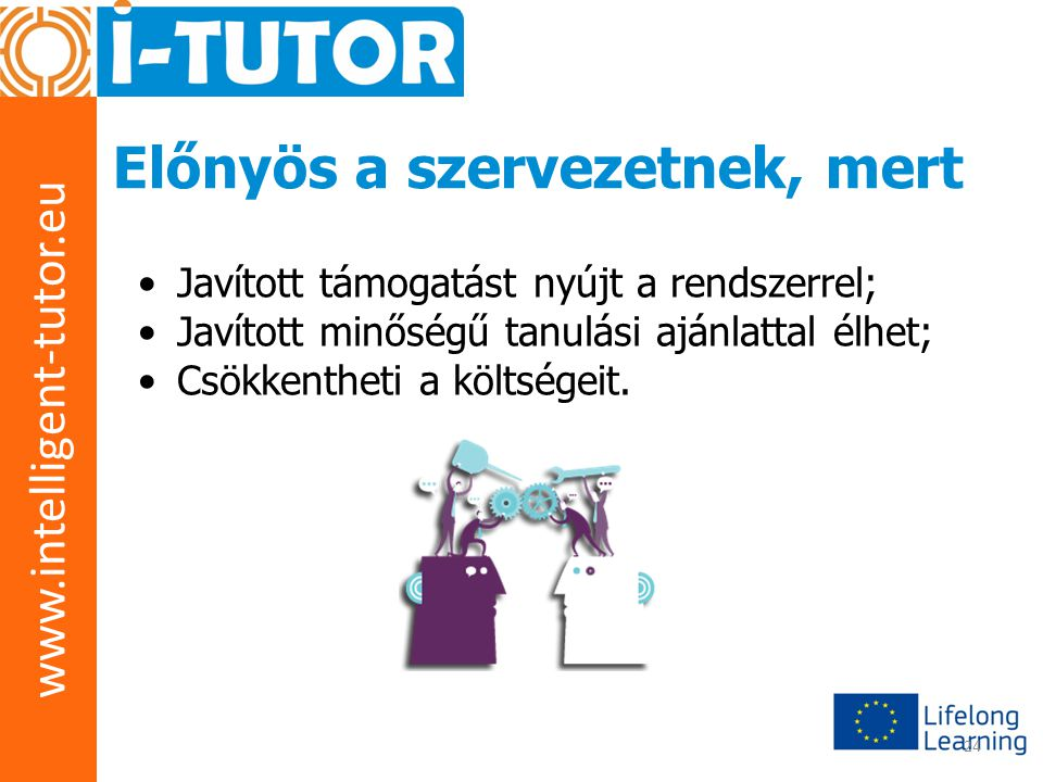 www.intelligent-tutor.eu 24 Előnyös a szervezetnek, mert •Javított támogatást nyújt a rendszerrel; •Javított minőségű tanulási ajánlattal élhet; •Csök