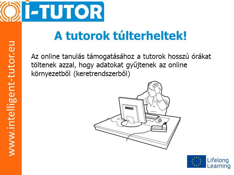 www.intelligent-tutor.eu 3 A tutorok túlterheltek! Az online tanulás támogatásához a tutorok hosszú órákat töltenek azzal, hogy adatokat gyűjtenek az